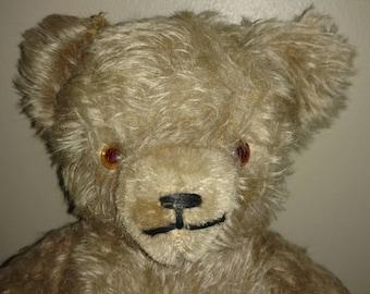 "Antique 14"" Cream Mohair American Teddy Bear"