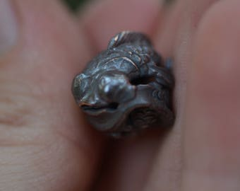 Two Koi Fish Cast in Bronze / Fish Bead / Versatile Stringing Options / Robert Burkett Design / Japanese / Hand Carved / Metal Jewelry