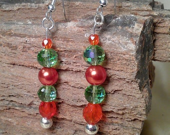 Orange Pearls and Czech Crystal with Green Czech Crystal Beaded Dangle Earrings with Silver Hardware