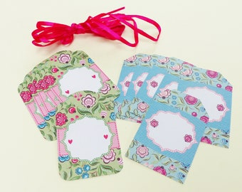 12 label tags gifts blue and green floral flower scrapbooking embellishment with satin ribbon