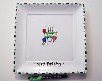 SQUARE Ceramic Signature  Plate for BIRTHDAY CHEER