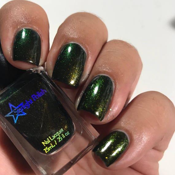 Dragon Night Black Duochrome Color Shifting Gold to Green Indie Nail ...