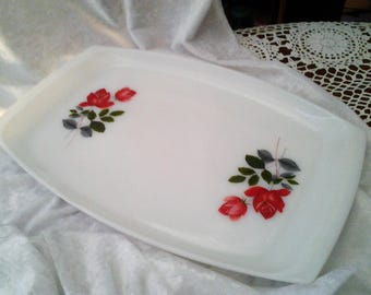 Vintage Pryex Meat Tray with Red Rose