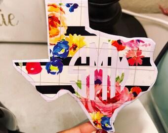 Flower Stripes - texas - Monogram Sticker