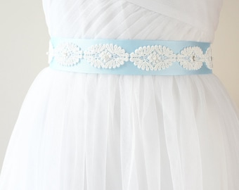 Blue Bridal Sash, Wedding Belt, Bridesmaid Sash, Light Blue Sash