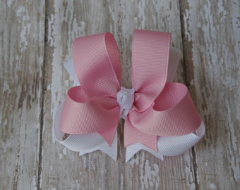 """4"""" Pink & White Boutique Layered Hair Bow"""