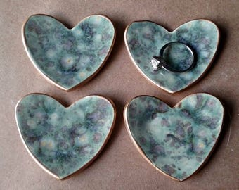 FOUR Ceramic Heart Ring Dishes Ring Bowls Bridesmaid favors Baby shower favor wedding favor Agate With Gold Edge  2 1/2 inches  itty bitty