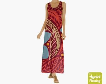 Maxi Polynesian Tribal Theme Sleeveless Dress, Red Blue Hawaiian Tiki Style Dress for Women