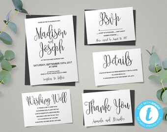 Wedding Invitation Template, Script Printable Wedding Invitation Set, Instant Download DIY Printable Invitations, Editable Invitations