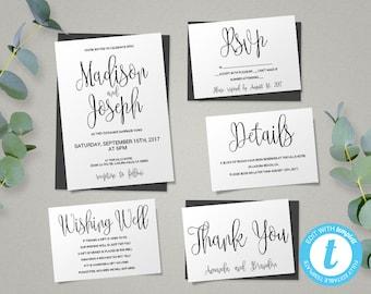 Wedding Invitation Template, Script Printable Wedding Invitation Set,  Instant Download DIY Printable Invitations,