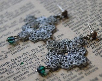 Silver and green victorian earrings