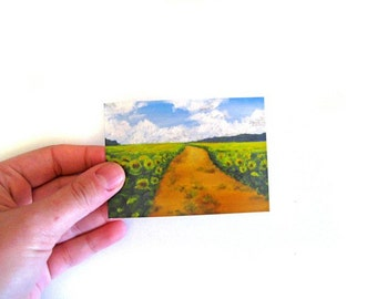 Sunflower Field ACEO --  Fine Art Print - Mini Painting Print -- Country Landscape -- Sunflower Art -- Sunflower Painting -- ACEO Painting