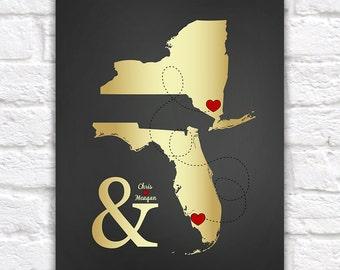 Long Distance Relationship Wedding Gift, Gold or Silver Maps - Custom Art Print, Ampersand, Elegant, Chalkboard Sign Poster | WF462