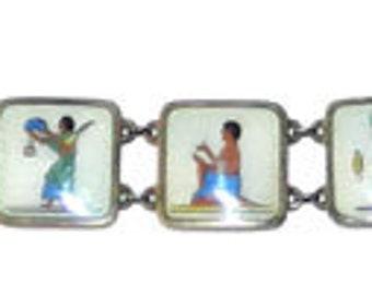 Vintage 1920's Egyptian Revival Enameled Sterling Silver Bracelet