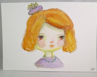 Mixed Media Watercolor Girl Purple Pillbox Hat by Ceville Designs