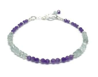 Amethyst bracelet, Aquamarine bracelet, February birthstone, March birthstone,mothers day gift, valentines gift, gift for mum, 925 silver