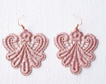 Lace Earrings in Rose Gold