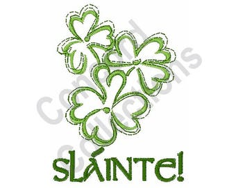 Slainte - Machine Embroidery Design, Irish Clovers, Shamrocks