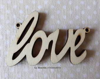 Lot 2 x applique shapes in wood pendant Word Love between