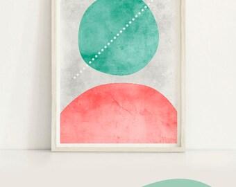 Geometric Art Poster Print, Mid Century Modern Geometric Print, Mid Century Abstract Modern Art Instant Download Prints,