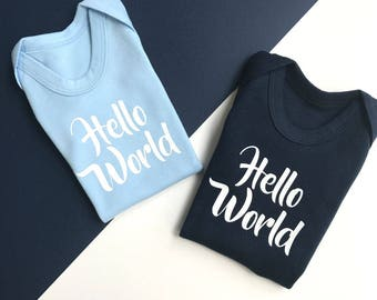 Hello World Newborn Outfit | Baby Boy Coming Home Outfit | Coming Home Outfit Boy | Vest Hello World