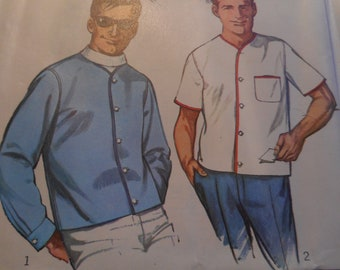 Vintage 1960's Simplicity 6284 Men's Sport Shirt and Jacket Sewing Pattern Neck 16-16.5, Chest 42-44