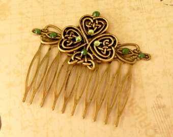 Hair comb with shamrock and Celtic ornaments, Ireland Hair Accessories, wedding hair comb, giftidea women, ornate hair comb