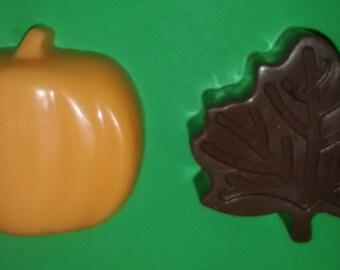 Fall Pumpkin & Leaf Soap Set - 2 Scented Soap Bars