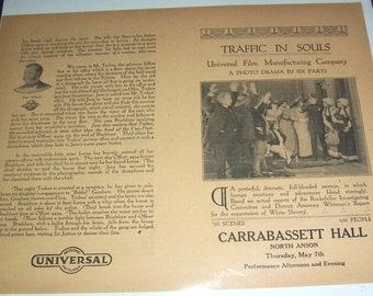 1913 Traffic In Souls movie herald, white slavery