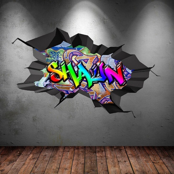 Amazing Personalised Custom Name Full Colour Graffiti Wall Decals