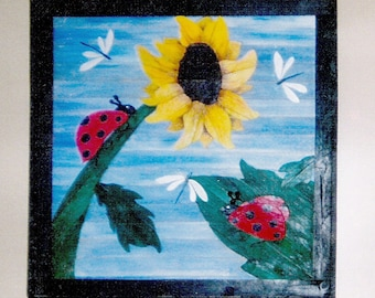 ladybugs and sunflowers wood picture