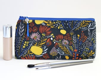 Navy Floral Small Makeup Bag, Zipper Pouch Gift For Her, Best Friend Gift
