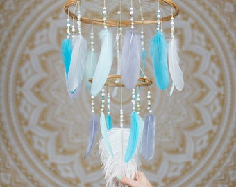 Baby Blues Dream Catcher Feather Mobile - Nursery Chandelier Dream Catcher Mobile Boho Mobile Boho Baby Boy Gift Bohemian Mobile Chandelier