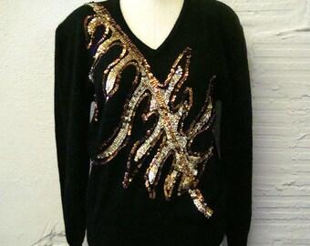 Flashy Sequin Sweater Vintage 1970s Knit Joyce Black Gem