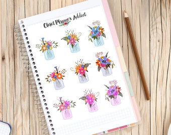 Mason Jar of Flowers Planner Stickers   Floral Stickers   Mason Jar Stickers   Cute Flowers   Floral Bouquet Stickers (S-254)