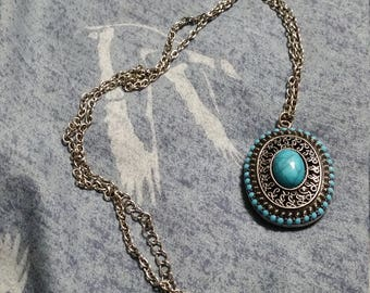 On Sale Silver Toned Southwestern Style Faux Turquoise Oval Pendant 28 inch  Pendant Necklace  Beaded Fashion Accessory Costume Jewelry