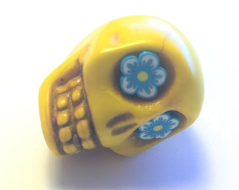 Sugar Skull Bead Gigantic Yellow Pendant  with Teal Daisy Eyes
