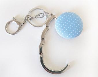 Handbag Hook Key Ring and Bag Charm, Purse Hook Hanger Key chain, Bag Hook, Folding Purse Hanger in Pale Blue Dots