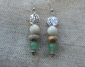 Stone dangle earrings/hippie earrings/ boho jewelry for women/gift for her/tribal earrings/gypsy jewelry/beaded earrings/stone earrings/jade