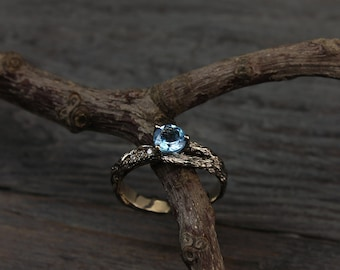 Branch engagement ring with topaz and diamond, Women's twig ring, Tree engagement ring, Women's branch engagement ring, Gift for bride