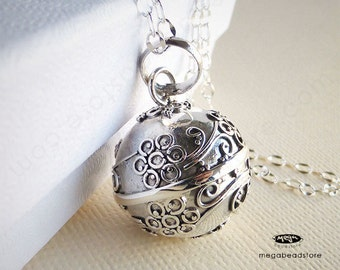 """Maternity Necklace Mexican Bola 16mm Flower Harmony Ball 36"""" Chain 925 Sterling Silver P55CH67"""