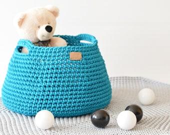 Crocheted storage basket / knitted laundry basket / handmade toy basket / storing basket / storage bin / nursery storage