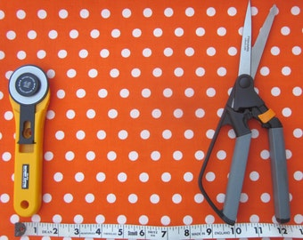 Orange and White Polka Dot Fabric, Half yard, Quilt Fabric, Craft Fabric, Cotton Fabric