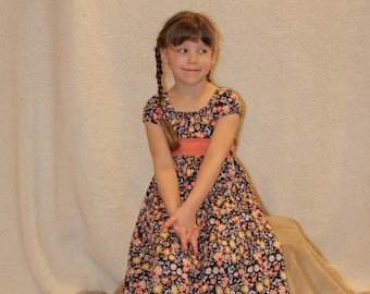 Twirly Navy Floral Peasant Dress w/Coordinating Peach Polkadot or Floral Sash and Ruffle (Made to Order)--Sizes 12/18mo, 2/3,4,5,6,7,8,10