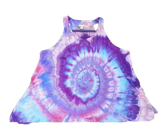 Hand Dyed Tunic Ice Dyed Tie Dye Tank Top in Purples & Blues