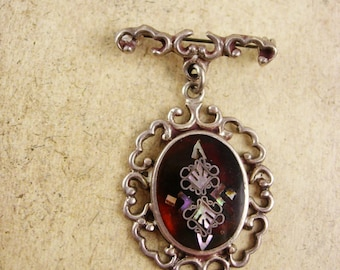 Victorian Pietra dura Brooch mother of pearl sterling chandelier signed PGG mexico