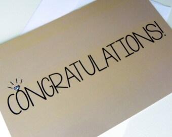 Engagement Congratulations Card Engagement Ring Congratulations on Engagement Gold Diamond Card