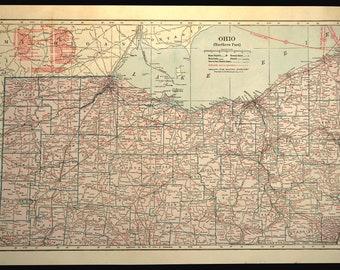 Northern Ohio Map LARGE Ohio Railroad Map Ohio Wall Art