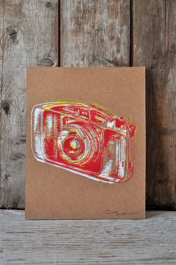 Camera #27, hand pulled silkscreen print, Boyer camera, 8 x 10 inches, open edition.