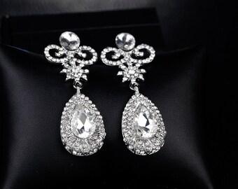 MALLORY - Silver pierced Crystal Drop Earrings